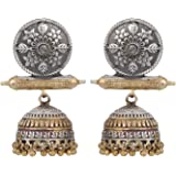 Peora Traditional Silver Plated Brass Jhumki Earrings for Women & Girls, Silver