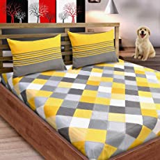 Loreto Premium 144 TC 100% Cotton Double Bedsheet with 2 Pillow Covers, Multi Colour