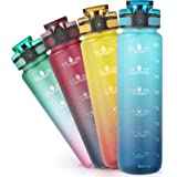 Sahara Sailor Waterfles, 1000ml Motivational Fitness Sport Waterfles met Tijdmarkering,BPA-vrij, Tritan-vrij,lekvrij,Geschikt