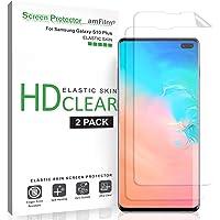 amFilm Protection écran Galaxy S10 Plus (2 Pièces), Souple (Coque Compatible) HD Transparent Élastique TPU Film Protecteur d'écran pour Samsung Galaxy S10 Plus (+)