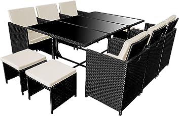 POLY RATTAN Essgruppe Rattan Set mit Glastisch Garnitur Gartenmöbel Sitzgruppe Lounge