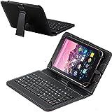 Navitech Schwarz bycast Leder Stand mit deutschem QWERTZ Keyboard mit Micro USB für das Simbans TangoTab 10 Inch Tablet