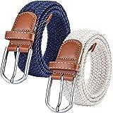 Chalier (Paquete de 2) Cinturón Trenzado de Lona elástica Femenina - Cinturones Elásticos Tejidos de Mujer para Jeans