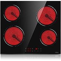 Plaque Vitrocéramique, Table de cuisson vitrocéramique 4 feux, 6000W avec 9 niveaux de puissance, 58,3 cm…