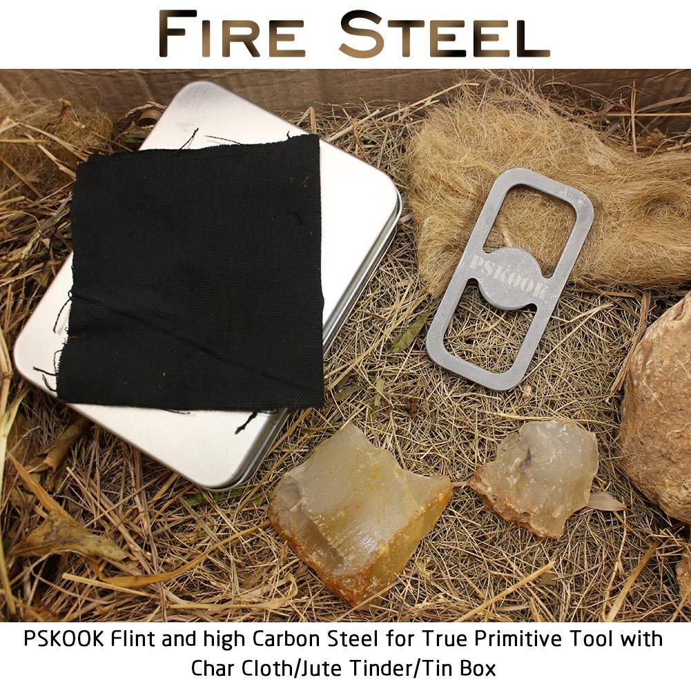 PSKOOK Steel fire Striker English Flint Stone Char Cloth Pocket Bellows Emergency Tinder Jute Carry Bag