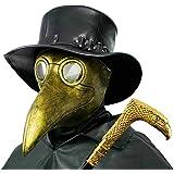 PartyHop Maschera del Medico della Peste, Costume da Gas Steampunk con Becco d'oro, per Bambini e Adulti