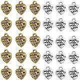 Aweisile Ciondoli 200 Pezzi Ciondolo Cuore Ciondolo a Forma di Cuore Fatto Ciondoli per Bracciali Fai da Te Ciondolo Argento