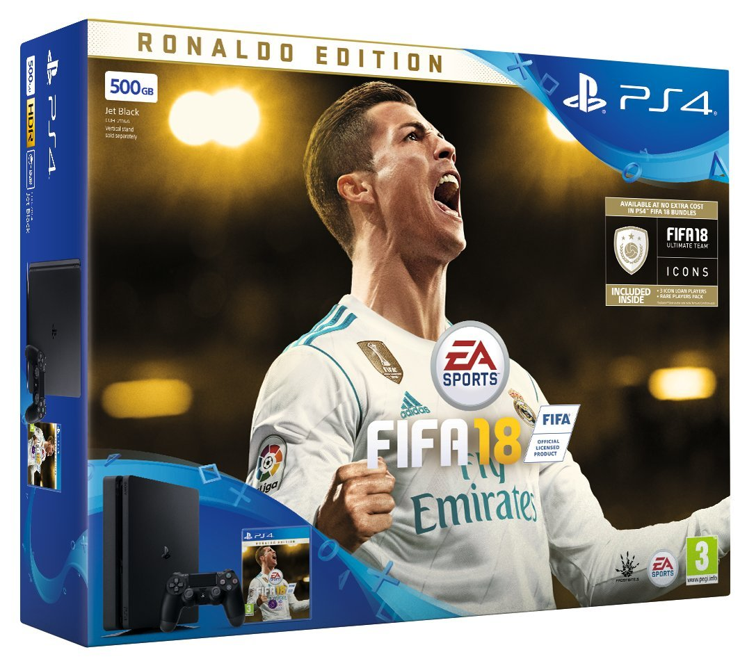 Sony PlayStation 4 500 GB FIFA 18 Ronaldo Edition (3 Days Early Access Plus FIFA 18 Ultimate Team Ic