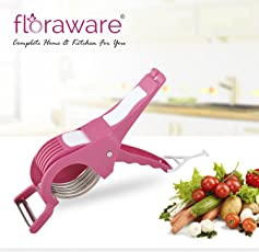 Floraware 2 in 1 Stainless Steel 5 Blade Vegetable Cutter with Peeler, Pink