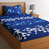 Dreamscape 100% Cotton bedsheets for Single Bed Cotton, 144tc Geometric Blue Single bedsheet with Pillow Cover (4.8ft x…