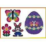 Hama Midi Stiftplatten Set 20 - FRÜHLING - EI,Schmetterling,Blume,Häschen + 100 Gratis Midi Bügelperlen