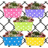Collectible India Metal Dotted Oval Hanging Flower Pots Railing Bucket Vase Planter for Balcony Garden(Blue, 1 Pcs)