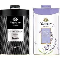 Yardley London - English Lavender Perfumed Talc for Women, 250g & Yardley London Gentleman Talcum Powder, 250g