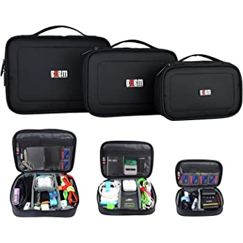 BUBM 3PCS Accessories Carry Bag Gadget Bag Travel Cable Case Electronics Organiser for Chargers Cables Powerbank Hard Drive