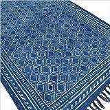 Eyes of India Indigo blau Baumwolle Block Druckfläche Akzent Dhurrie Teppich Hand geflochten flach zu weben - Blau, 3 X 5 ft. (91 X 152 cm)