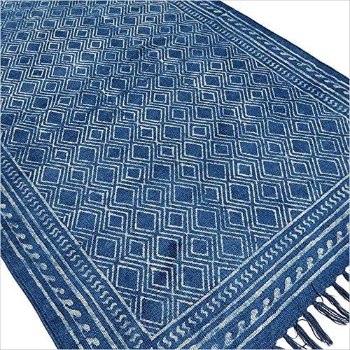 Eyes of India - indigo blau Baumwolle Block Druckfläche Akzent Dhurrie Teppich Hand geflochten flach zu weben - Blau, 3 X 5 ft. (91 X 152 cm) (Jaipur Rugs)