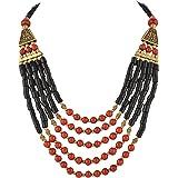 Zephyrr - Collana tibetana con perline, multifilo, realizzata a mano, alla moda, da donna