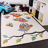 Paco Home Tapis pour Enfant Adorable Chouette en Crème Bleu Orange Vert, Dimension:80x150 cm