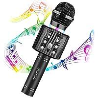 Microphone Karaoké Bluetooth, FISHOAKY 4 en 1 Micro Enfant pour Chanter Fille Garcon Avec Lumières LED Enregistrement…
