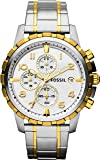 Fossil Chronograph Men's Watch (Gold & Silver Dial Silver Colored Strap)