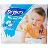 Drypers Wee Wee Dry Medium Sized Diapers, Combo Pack of 3, 74 Counts Each (222 Counts)(Taped Diaper)