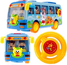 BAYBEE School Bus Toy Bump and Go Action Moves Around on Its Own for Kids with Flashing Lights and Realistic Sound Effects