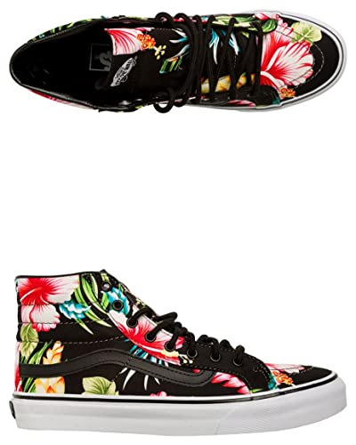 ca3523ae9d9 Vans Women s Sk8-Hi Slim Canvas Lace Up Trainer Hawaiian Floral Black   Amazon.co.uk  Shoes   Bags