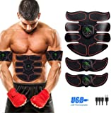 SHENGMI Abs Trainer,EMS Muscle Stimulator with LCD Display & USB Rechargeable,Abdominal Belt Toning Gym Workout