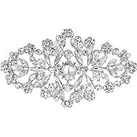 keland Vestito da cerimonia nuziale di Natale da donna in argento da cerimonia nuziale in cristallo con spilla a forma…
