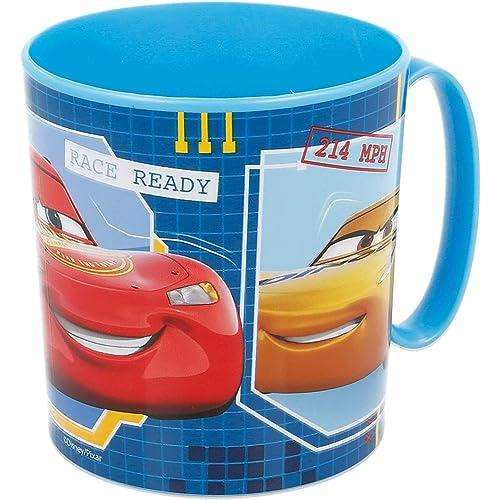 Tazza Bicchiere in plastica per Microonde con manico Bambini colazione (Cars 2)