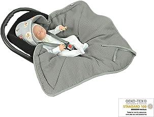 MoMika NEU- Einschlagdecke, Universal für Babyschale, Autositz, für Kinderwagen, Buggy oder Babybett, aus Waffelpique 100% Baumwolle
