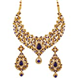 Touchstone Indian Bollywood Traditional Floral Theme White Rhinestone and Blue Faux Sapphire Bridal Designer Jewelry Necklace