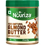 Nouriza 100% Natural Almond Butter (California Almonds), Unsweetened, Crunchy 200g