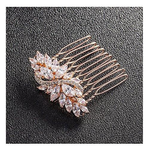 LZHA Bridal Hair Dressing Hochzeit Blume Kristall Strass Diamant Perlen Haarspange Kamm Haircomb,Rosegold - Dressing Kamm