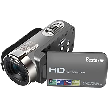 "Besteker Camera Camcorders, HD 1080P 24MP 16X Digital Zoom Video Camcorder with 2.7"" LCD and 270 Degree Rotation Screen"