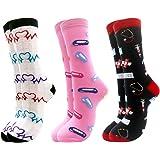 Merclix Kleurrijke sokken dames 39-42, grappige sokken dames meisjes, geschenken voor vrouwen grappig cadeau, katoen