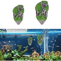 AQUAPETZWORLD 1pcs Suspended Floating Artificial Stone Rocks Aquarium Landscape Decoration Pumice Rockery Fish Tank Moss…