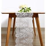BITFLY 35cm x 300cm Chemin de Table en Dentelle Blanche, Ceinture de Chaise, Décoration de Table de Mariage, Décorations de F