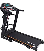 Fitkit Unisex Adult FT100 Series Motorized Treadmill With Manual Inclination - Black, Medium