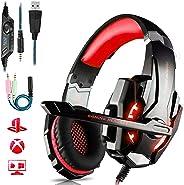 Cuffie Gaming per PS4 Cuffie da Gaming con microfono e Bass stereo Cuffie da Gioco con 3.5mm Jack LED e Controllo Volume Gami