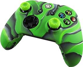 Pandaren Silikon hülle skin Schutzhülle für Xbox One controller (Tarnung grün) x 1 + thumb grip aufsätze x 2