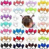 DeD 50 Pcs 5.1cm Grosgrain Ribbon Pigtail Hair Bows Elastic Hair Ties Hair Bands Holders Hair Accessories for Baby Girls Infa