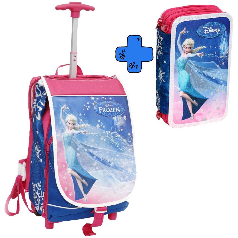 zaino trolley deluxe frozen con gadget + astuccio 3 cerniere frozen Giochi Preziosi