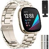 XIMU Correas compatibles con Fitbit Sense/Versa 3, correa de metal de acero inoxidable ajustable para reloj de pulsera para m