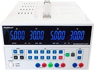 PeakTech Digital Doppel Labornetzteil - Labornetzgerät 0-30V / 0-5A DC mit USB, stabilisiert, linear, 1mA und 10mV Auflösung, ohne Lüfter, 1 Stück, P 6075