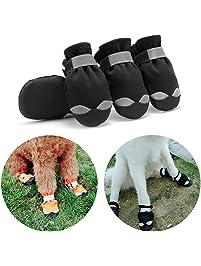 Hcpet Impermeable Zapatos Perro, 4Pcs Botas Perros para Perros y Mediano Perros - - Negro