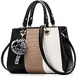 NICOLE & DORIS Damen Handtasche Umhängetasche Henkeltasche Kuriertasche Elegant Damen Handtaschen mit Kaninchen Pelz Kugel Pl
