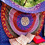 Marubhumi® Indian Hippie Mandala Tapestry, Wall Hanging Cotton Single Bedsheet, Tapestries Bedspread, Wall Décor Tapestry, 220 x 240 Cm