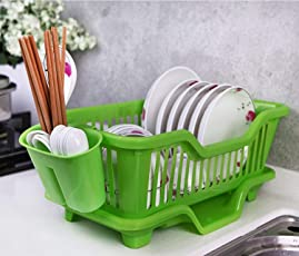 Plastic Dish Rack, Absales Plastic Kitchen Sink Dish Drainer Set Rack Washing Holder Basket Organizer Tray with Drain Board and Utensil Cup, Approx 44 * 18 * 15 cm