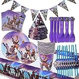 Babioms Game Party Supplies, Diseño de vajilla para fiestas incluye pancartas, platos, tazas, servilletas, gorro, cuchara, te